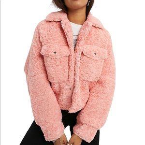 FREE PEOPLE TEDDY SWING Jacket in Pink Melon